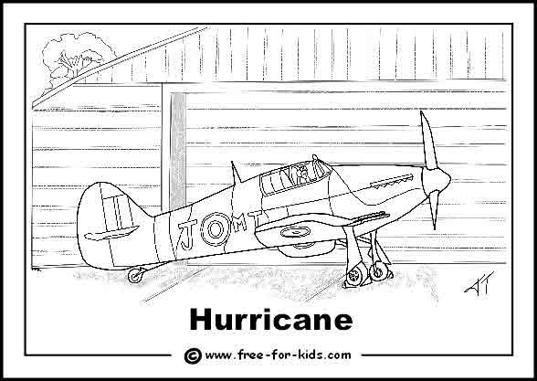 Free printable colouring page of a World War 2 Hurricane