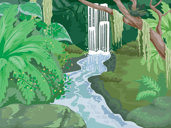 cartoon image of a jungle and waterfall