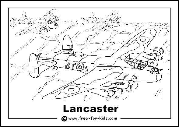 Free printable colouring page of a World War 2 Lancaster Bomber
