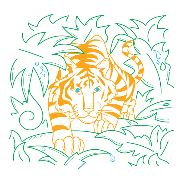 Line Drawing of a Tiger in the Jungle