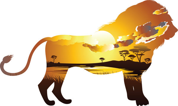 lion with savannah silhouette