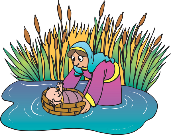 moses being found in a basket on a river