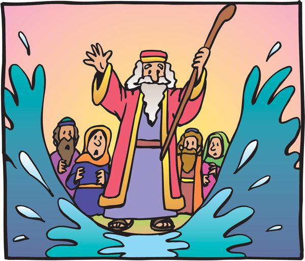 Moses parting the red sea with astonished onlookers