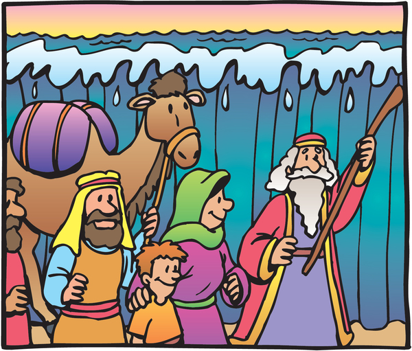 moses leading his people through a parted red sea