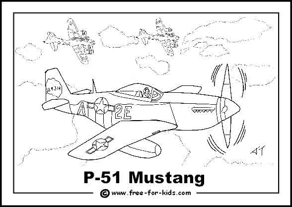 Free printable colouring page of a World War 2 P51 Mustang