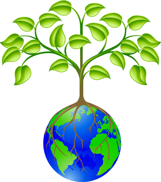 environment symbol planet earth with tree growing out of the top