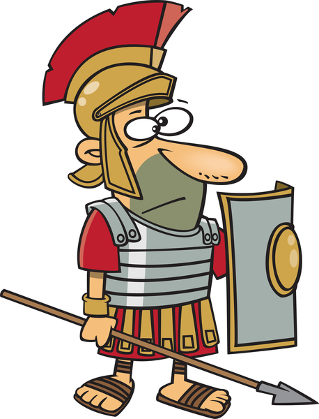 roman soldier holding a spear and shield