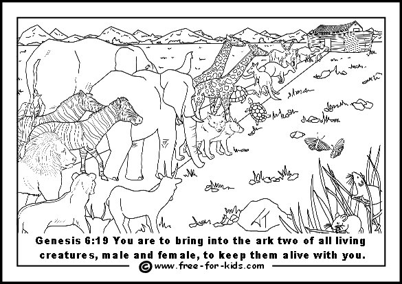 Free printable page of animals entering the ark two by two