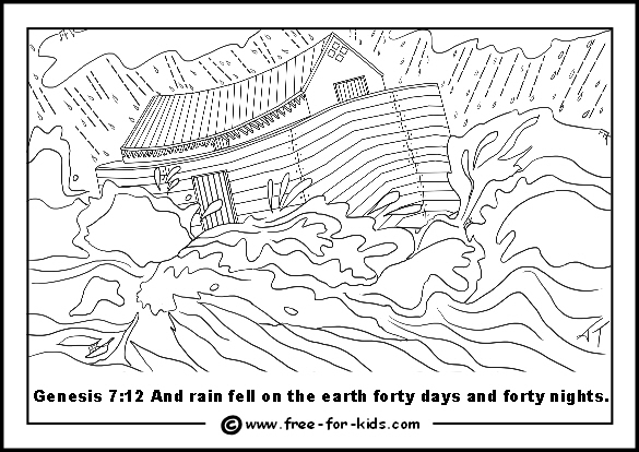 Free printable page of Noah's Ark in a storm