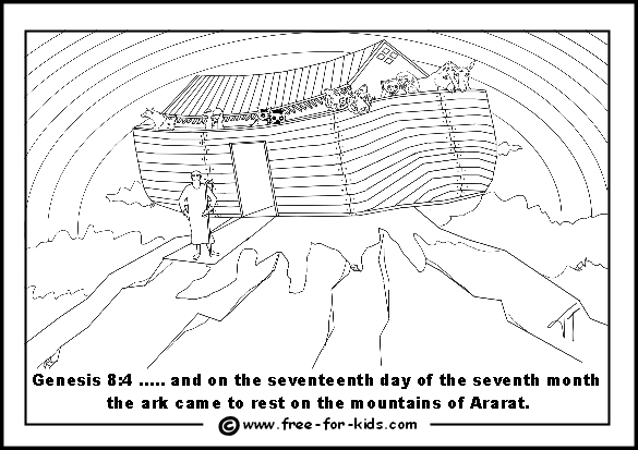 Free printable page of Noah's Ark on Mount Ararat