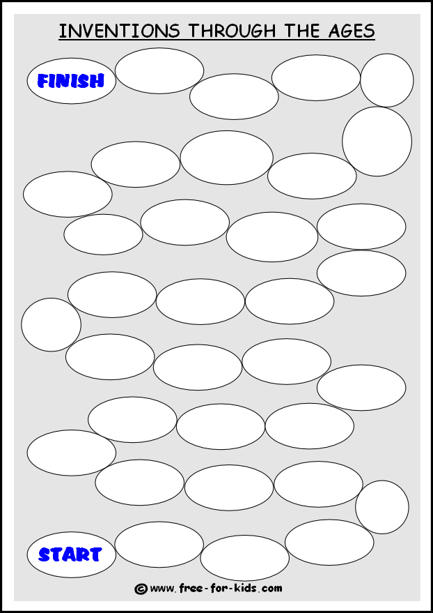 Preview of free printable blank template for a history of inventions game