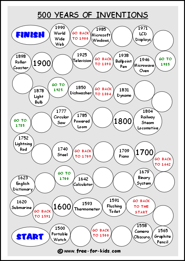 Preview of free printable history of inventions game