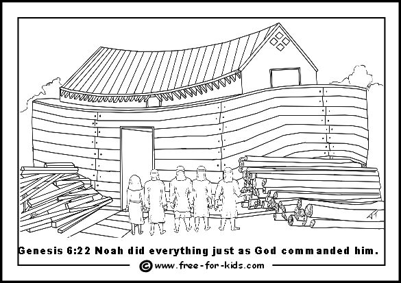 Free printable page of Noah building the Ark