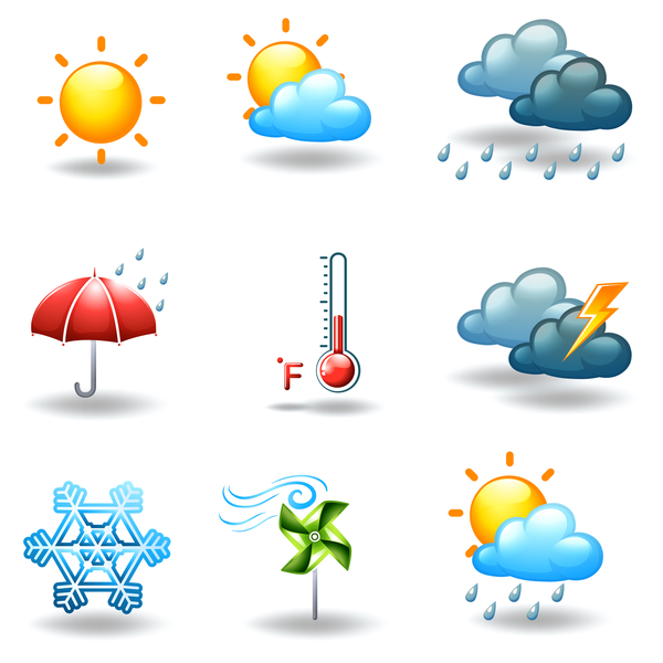 Different weather conditions as nine different icons