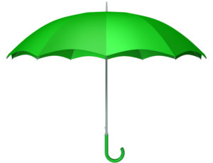 Green umbrella as typical kids weather symbol