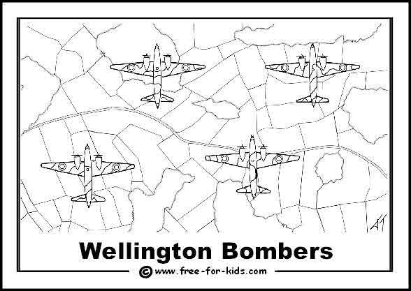 Free printable colouring page of World War 2 Wellington Bomber Aeroplanes