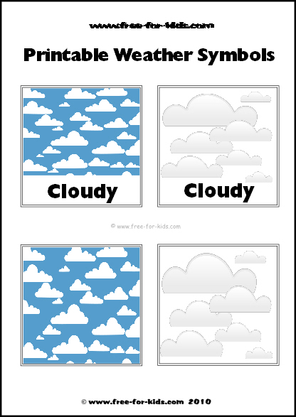 Preview Image of Printable Weather Symbols for a Cloudy Day