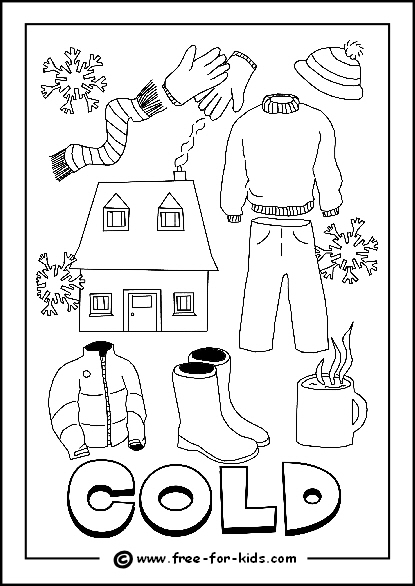 Preview Image of Printable Cold Day Colouring Page