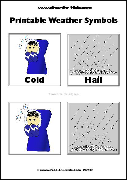 Preview Image of Printable Weather Symbols for Cold and Hail