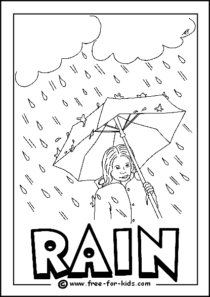Preview Image of Printable Rain Colouring Page