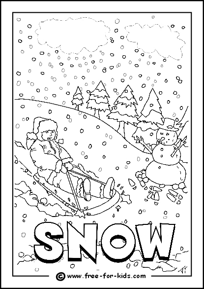 Preview Image of Printable Snowy Day Colouring Page