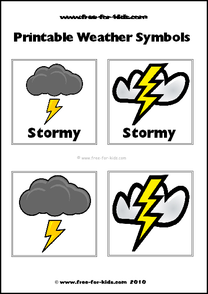 Preview Image of Printable Weather Symbols for a Stormy Day