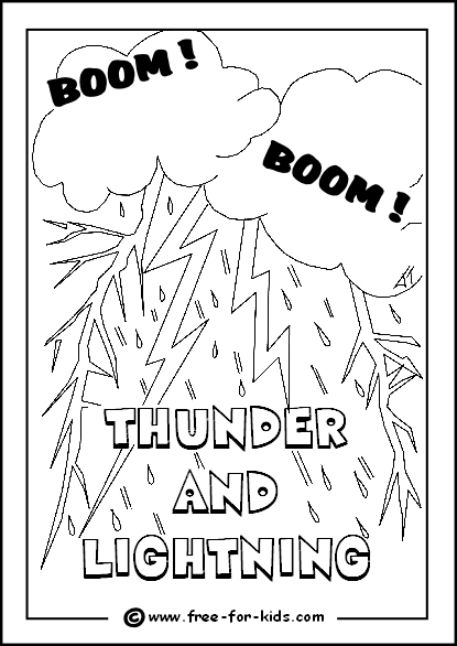 Preview Image of Printable Thunder and Lightning Colouring Page