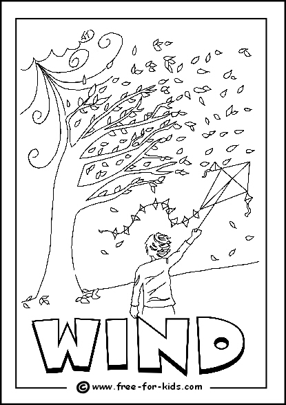 Preview Image of Printable Windy Day Colouring Page