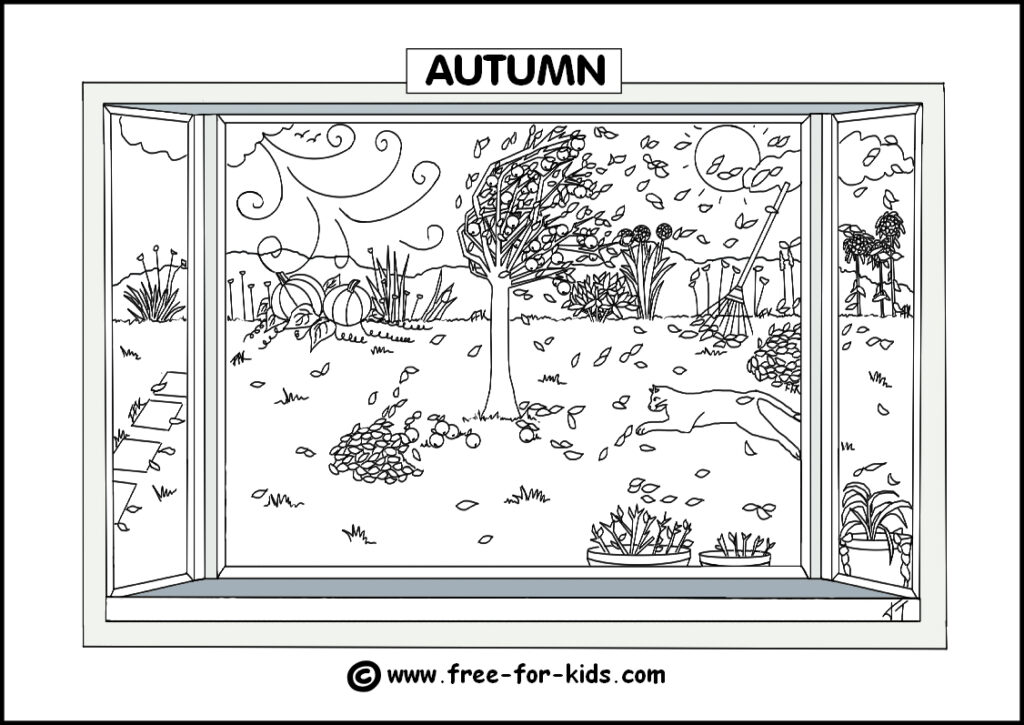 Preview Image of Printable Autumn Season Colouring Page
