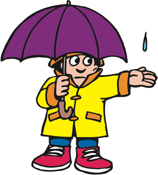 Boy with purple umbrella holding out his hand for rain