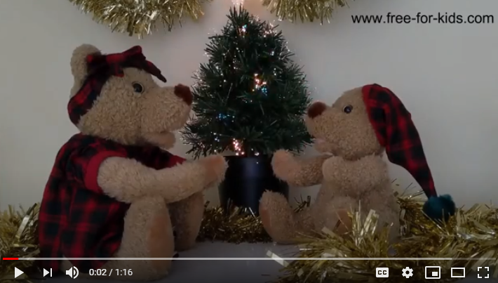 Preview image of a YouTube video with mummy bear telling baby bear a christmas story