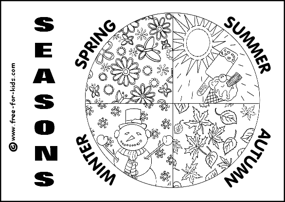 Preview Image of Printable All Four Seasons Colouring Page