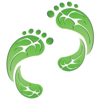image of two footprints in the style of green leaves to represent a green footprint