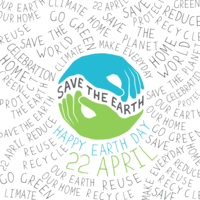 Happy Earth Day logo showing planet earth and the date 22nd April