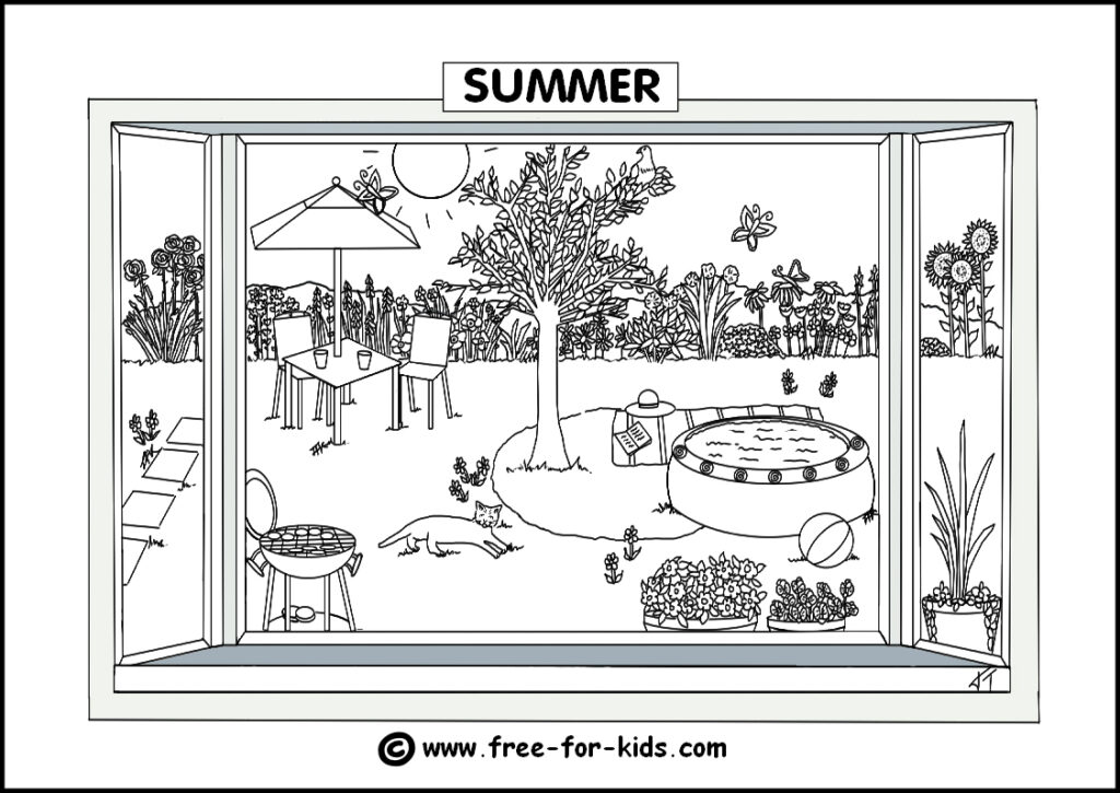 Preview Image of Printable Summer Season Colouring Page