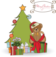 Image of a teddy bear underneath a Christmas tree with Merry Christmas message