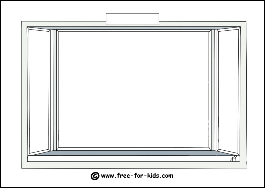 Preview Image of Printable Blank Window Season Colouring Page