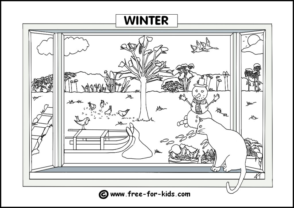Preview Image of Printable Winter Season Colouring Page