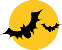 image of bats silhouetted against an orange moon