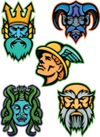 logo for greek mythology colouring pages showing five greek mythological characters