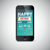 image of an iphone displaying happy birthday text