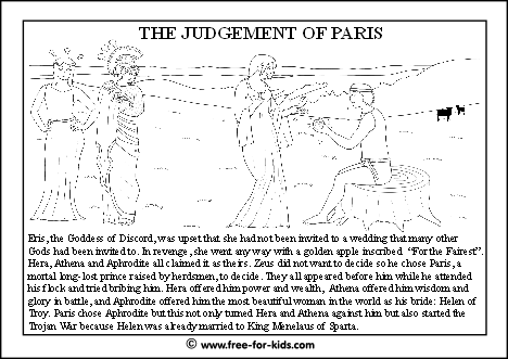 preview image of greek mythology colouring page about the judgement of paris myth