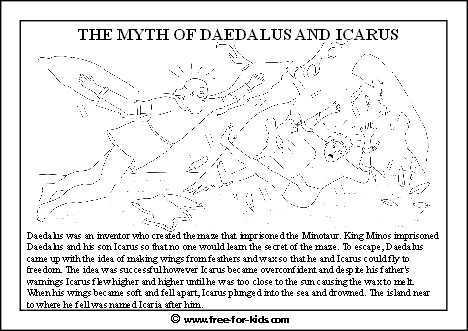 preview image of a colouring page about daedalus and icarus