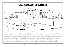 Preview Image of Greek Mythology Colouring Page about the Naming of Athens