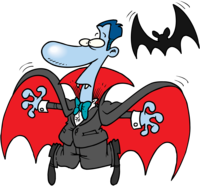 image of a cartoon vampire on halloween with bat