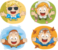 image of four children in four different seasons