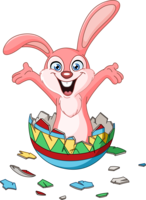 image of an easter bunny bursting out of an egg