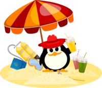 image of a penguin on holiday in the sun