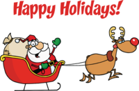 image of santa in a sleigh with happy holidays message