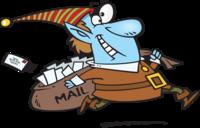 image of an elf delivering post to santa